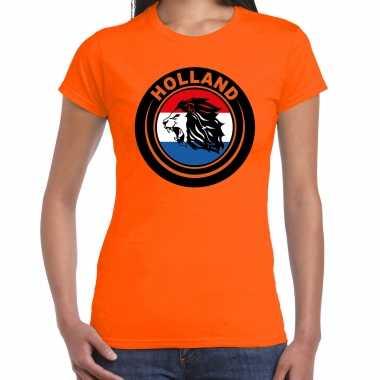 Oranje fan shirt / kleding holland met leeuw en vlag ek/ wk voor dames