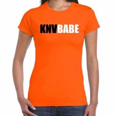 Oranje fan shirt / kleding knvbabe ek/ wk voor dames