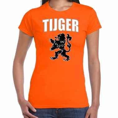 Oranje fan shirt / kleding tijger met oranje leeuw ek/ wk voor dames