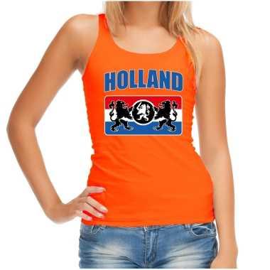 Oranje fan tanktop / kleding holland met een nederlands wapen ek/ wk voor dames