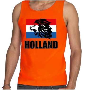 Oranje fan tanktop / kleding holland met leeuw en vlag ek/ wk voor dames