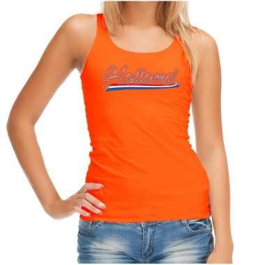 Oranje fan tanktop / kleding holland met nederlandse wimpel ek/ wk voor dames