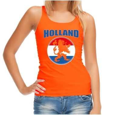Oranje fan tanktop / kleding holland met oranje leeuw ek/ wk voor dames