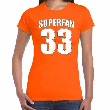 Oranje max shirt / kleding superfan nummer 33 voor dames