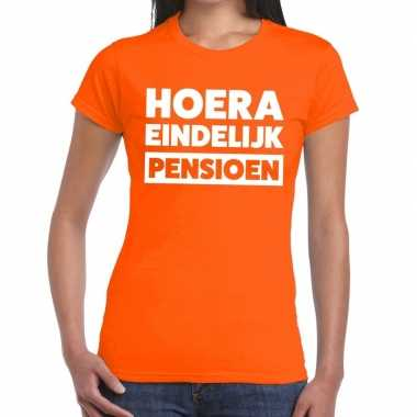 Oranje retired/gepensioneerd fun t-shirt dames