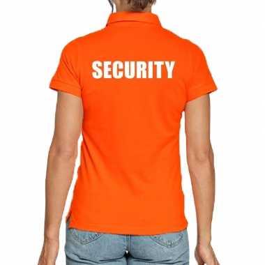 Oranje security polo t-shirt voor dames