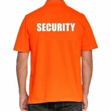 Oranje security polo t-shirt voor heren