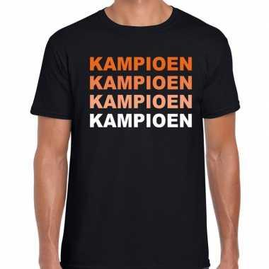 Oranje supporter kampioen shirt zwart voor heren