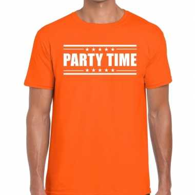 Oranje t-shirt heren met tekst party time