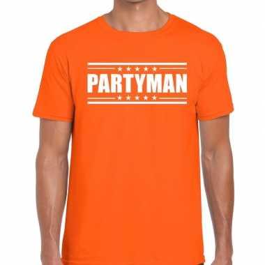 Oranje t-shirt heren met tekst partyman