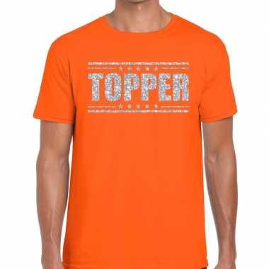 Oranje topper shirt in zilveren glitter letters heren