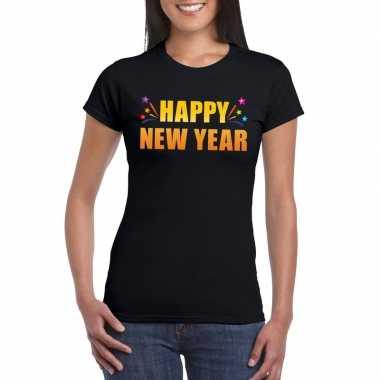 Oud en nieuw shirt happy new year zwart dames