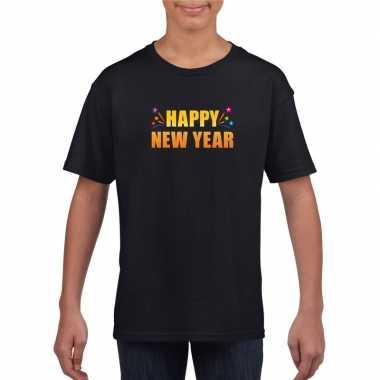 Oud en nieuw shirt happy new year zwart jongens en meisjes