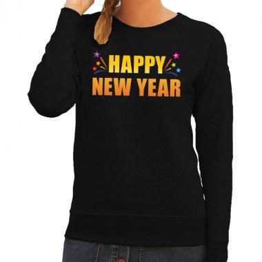 Oud en nieuw sweater/ trui happy new year zwart dames