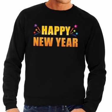 Oud en nieuw sweater/ trui happy new year zwart heren