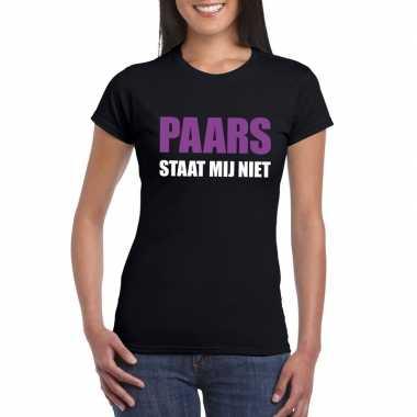 Paars staat mij niet fun t-shirt voor dames zwart