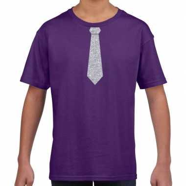 Paars t-shirt met zilveren stropdas voor kinderen