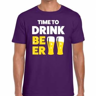 Paars time to drink beer fun t-shirt voor heren