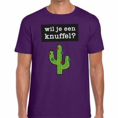 Paars wil je een knuffel fun t-shirt voor heren