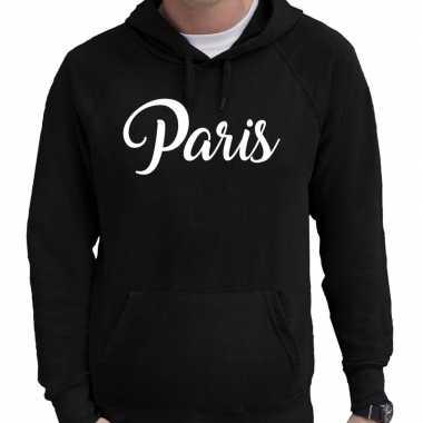 Parijs hooded sweater zwart met paris bedrukking voor heren