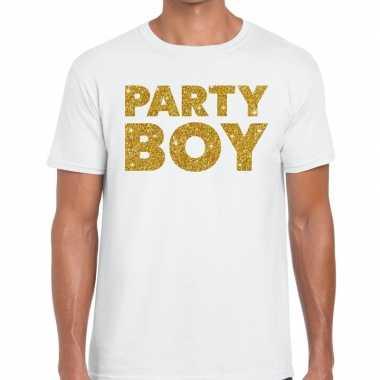 Party boy fun t-shirt wit voor heren