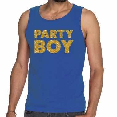 Party boy fun tanktop / mouwloos shirt blauw voor heren