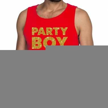 Party boy fun tanktop / mouwloos shirt rood voor heren