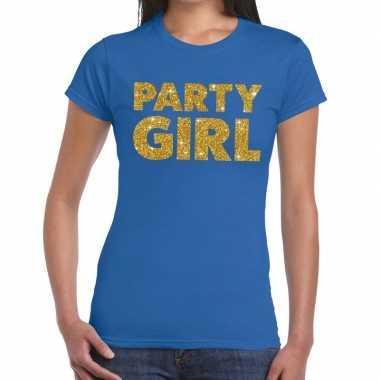 Party girl fun t-shirt blauw voor dames