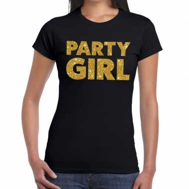 Party girl fun t-shirt zwart voor dames