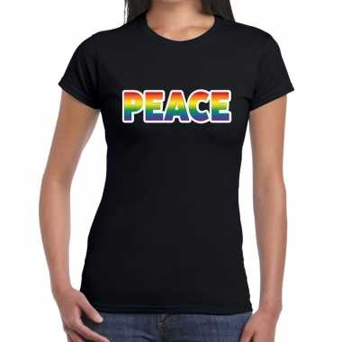 Peace gay pride tekst/fun shirt zwart dames