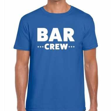 Personeel t-shirt blauw met bar crew bedrukking voor heren