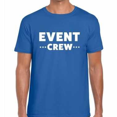 Personeel t-shirt blauw met event crew bedrukking voor heren