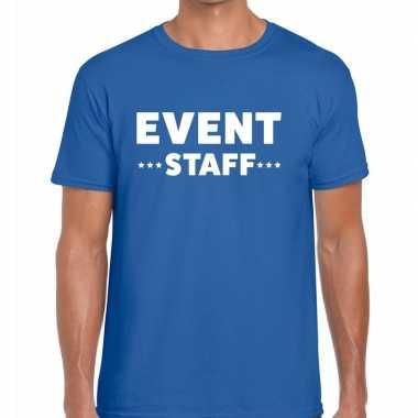 Personeel t-shirt blauw met event staff bedrukking voor heren