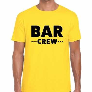 Personeel t-shirt geel met bar crew bedrukking voor heren