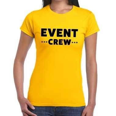 Personeel t-shirt geel met event crew bedrukking voor dames