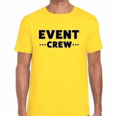 Personeel t-shirt geel met event crew bedrukking voor heren