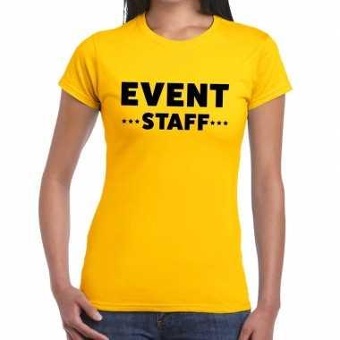 Personeel t-shirt geel met event staff bedrukking voor dames