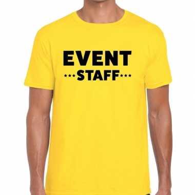 Personeel t-shirt geel met event staff bedrukking voor heren