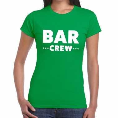 Personeel t-shirt groen met bar crew bedrukking voor dames