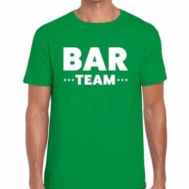 Personeel t-shirt groen met bar team bedrukking voor heren