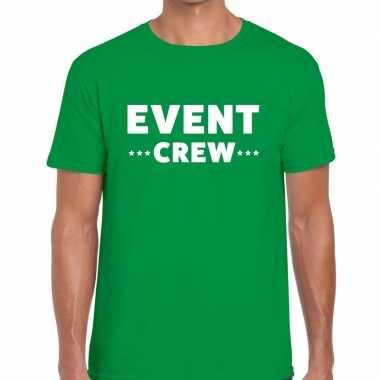 Personeel t-shirt groen met event crew bedrukking voor heren
