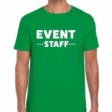 Personeel t-shirt groen met event staff bedrukking voor heren