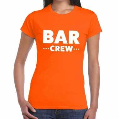 Personeel t-shirt oranje met bar crew bedrukking voor dames