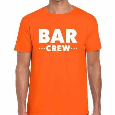 Personeel t-shirt oranje met bar crew bedrukking voor heren