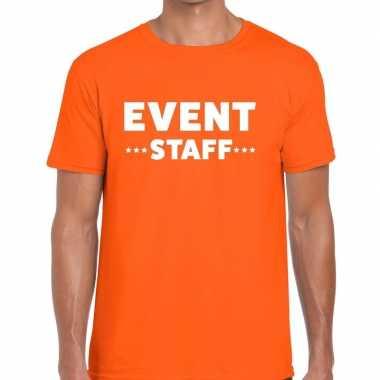 Personeel t-shirt oranje met event staff bedrukking voor heren