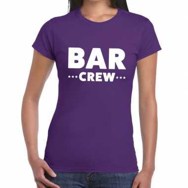Personeel t-shirt paars met bar crew bedrukking voor dames
