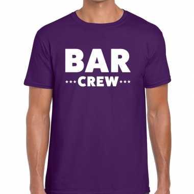 Personeel t-shirt paars met bar crew bedrukking voor heren