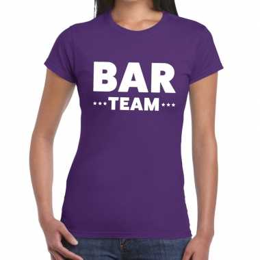 Personeel t-shirt paars met bar team bedrukking voor dames