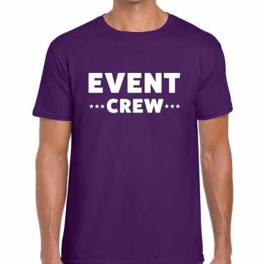 Personeel t-shirt paars met event crew bedrukking voor heren