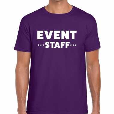Personeel t-shirt paars met event staff bedrukking voor heren